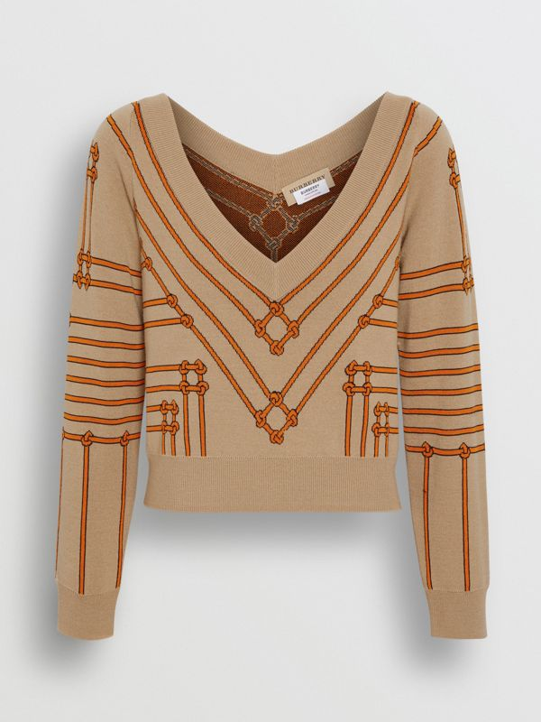 Rope Silk Wool Jacquard V-neck Sweater in Honey - Women | Burberry - cell image 3
