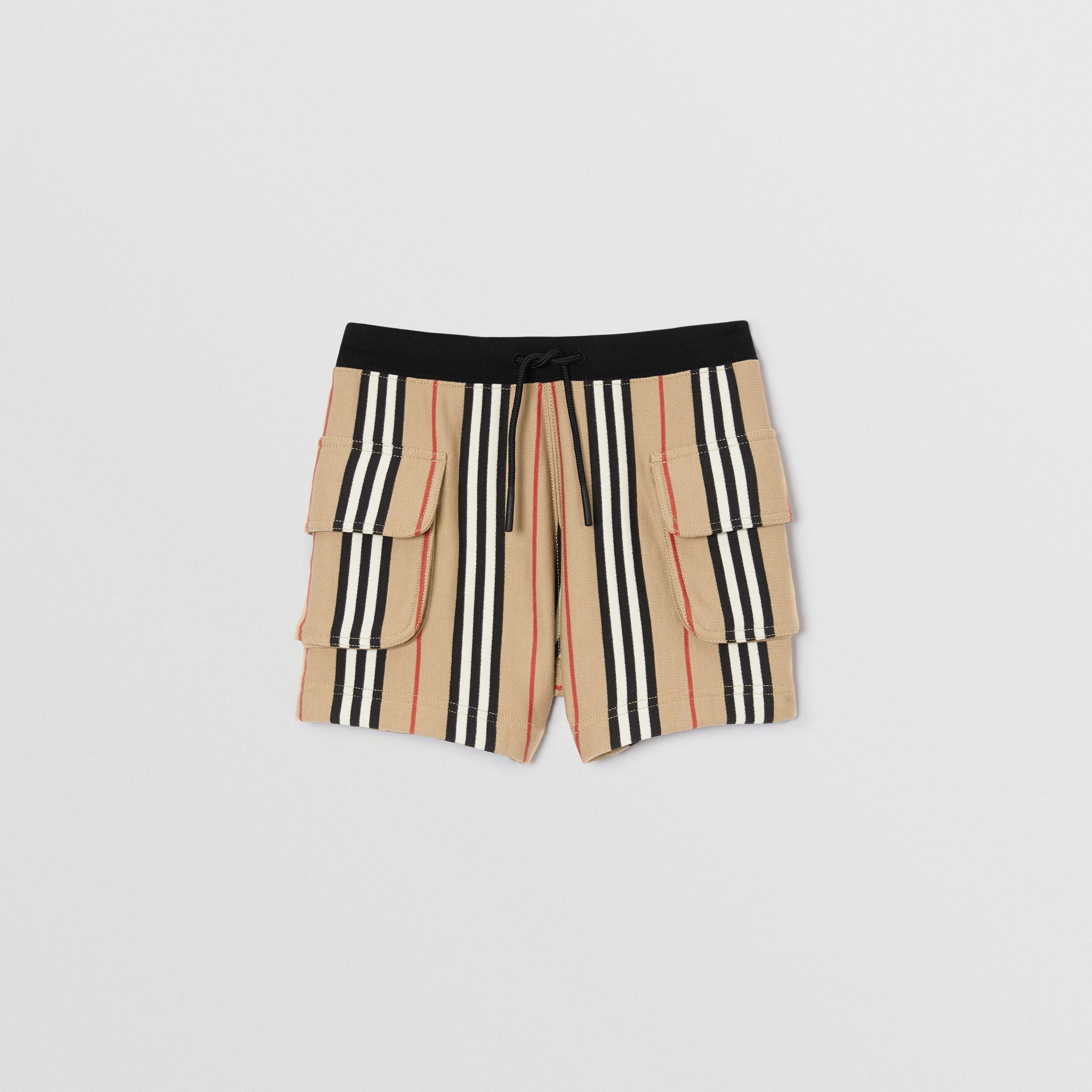 Icon Stripe Cotton Drawcord Shorts in Archive Beige | Burberry - gallery image 0