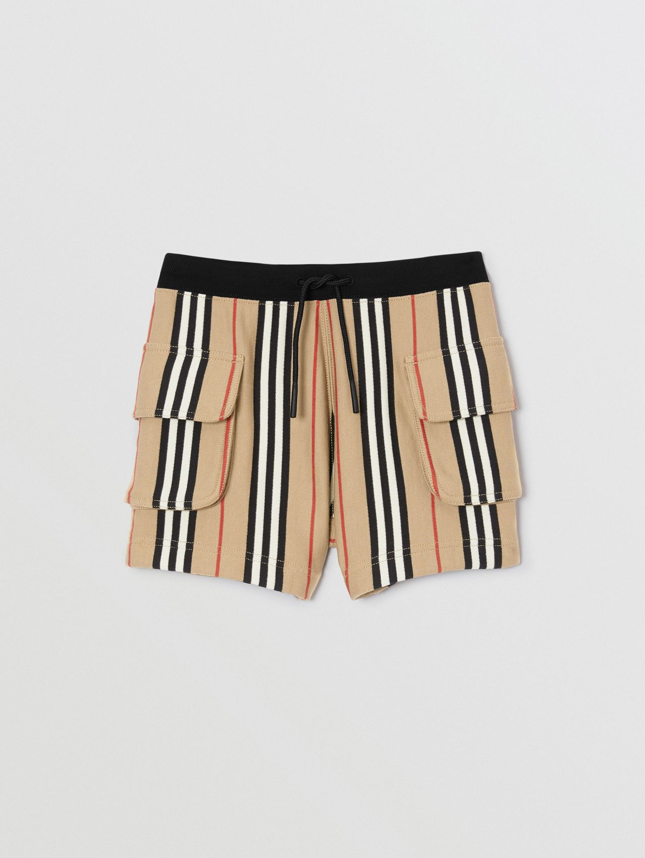 Icon Stripe Cotton Drawcord Shorts in Archive Beige