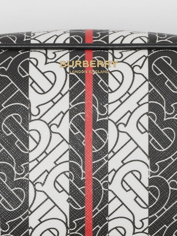 Monogram Stripe E-canvas Travel Pouch in Bridle Brown - Women | Burberry United Kingdom - cell image 1