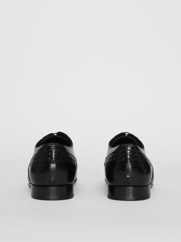 Brogue Detail Leather Derby Shoes in Black - Men | Burberry - cell image 3
