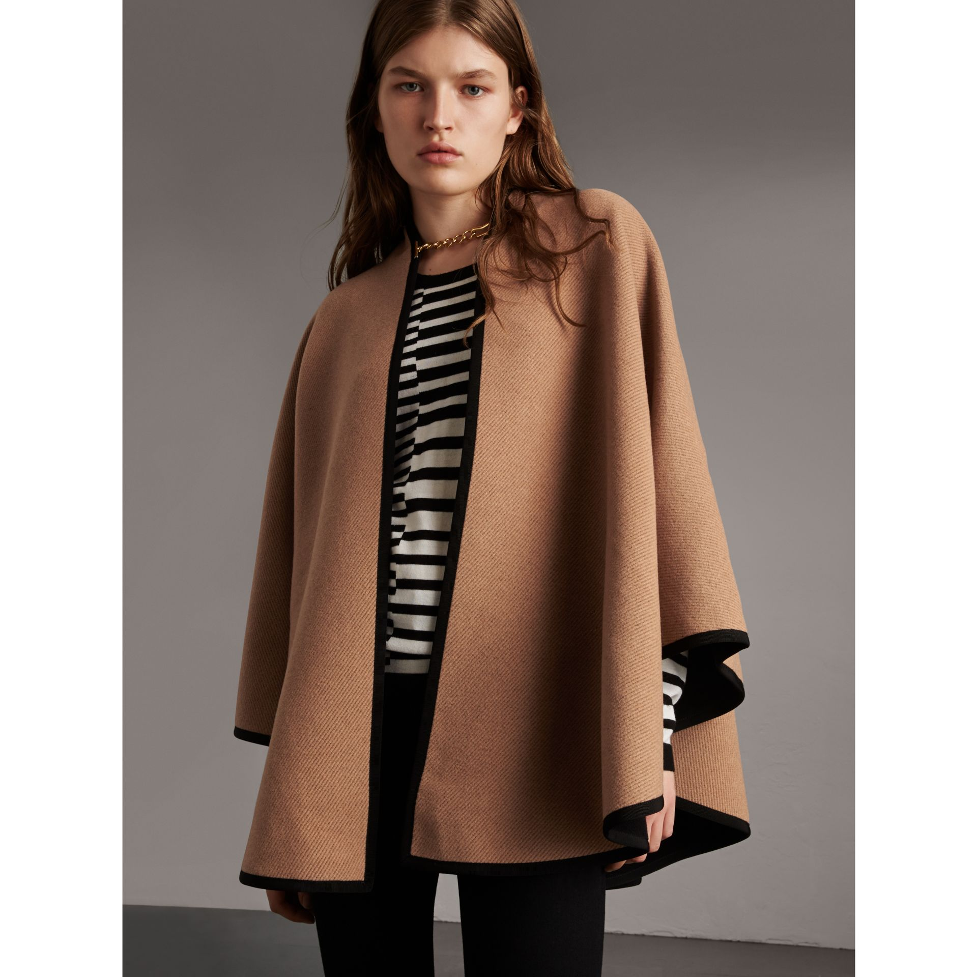 Wool Cashmere Military Cape in Camel/black - Women | Burberry - gallery image 1
