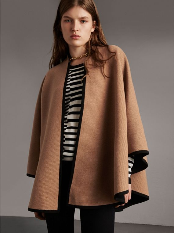 Wool Cashmere Military Cape in Camel/black