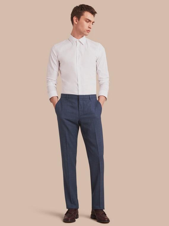 Modern Fit Wool Silk Blend Trousers in Steel Blue