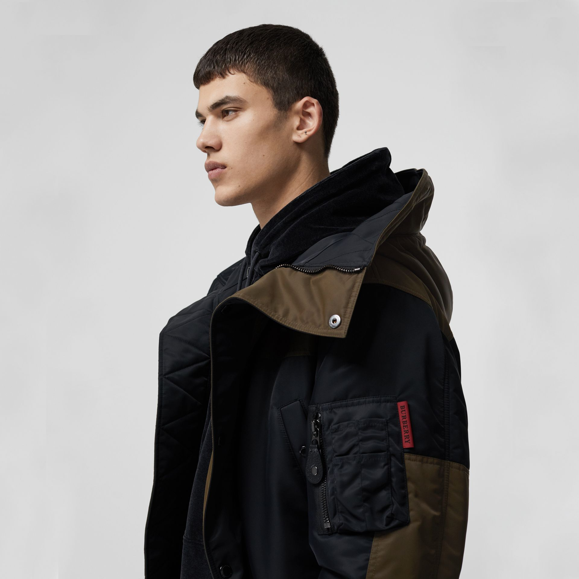 Colour Block Padded Hooded Parka in Black - Men | Burberry United States - gallery image 1