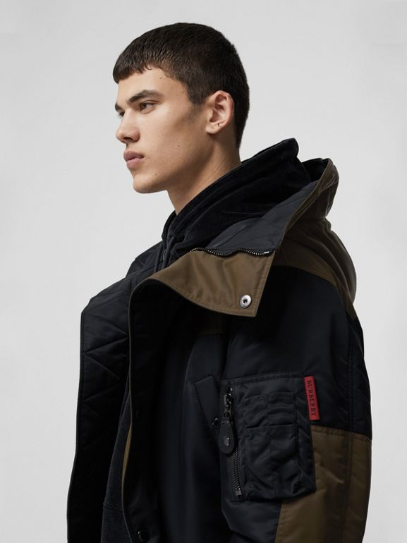 Colour Block Padded Hooded Parka in Black - Men | Burberry - cell image 1