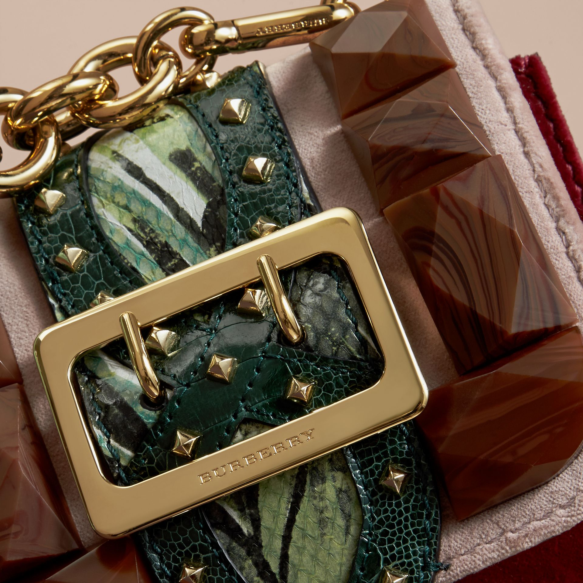 Ash rose The Mini Square Buckle Bag in Velvet and Floral Print Snakeskin - gallery image 2