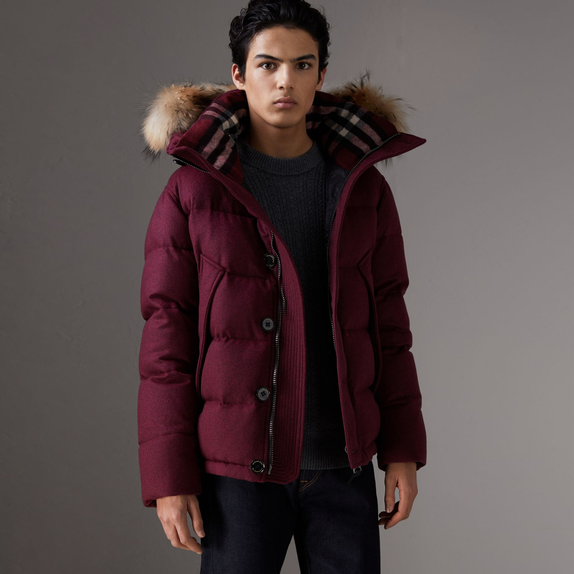 Short Detachable Fur Trim Cashmere Puffer Jacket in Dark Plum Melange - Men | Burberry - gallery image 0