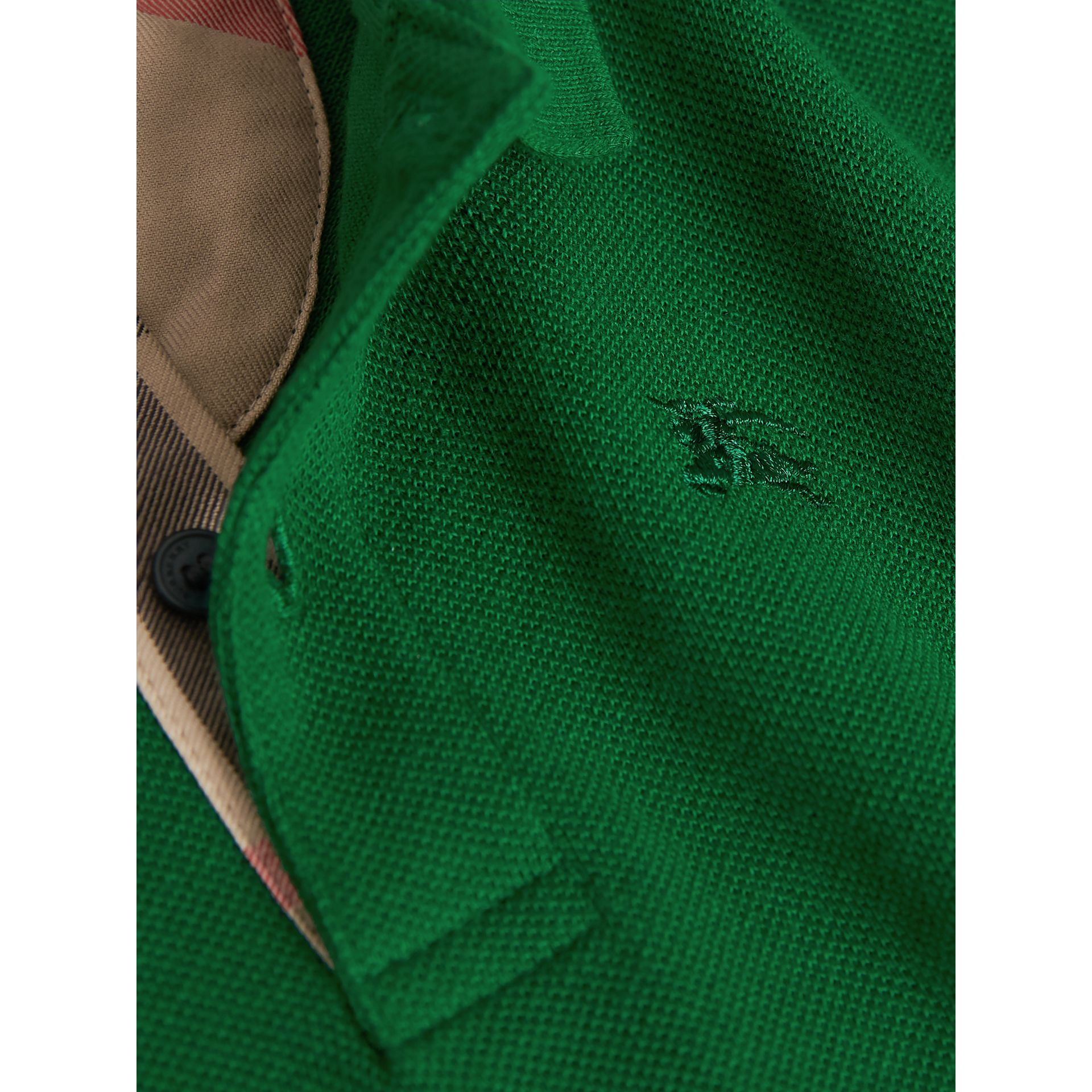 Long-sleeve Cotton Jersey Polo Shirt in Pigment Green - Boy   Burberry United Kingdom - gallery image 2