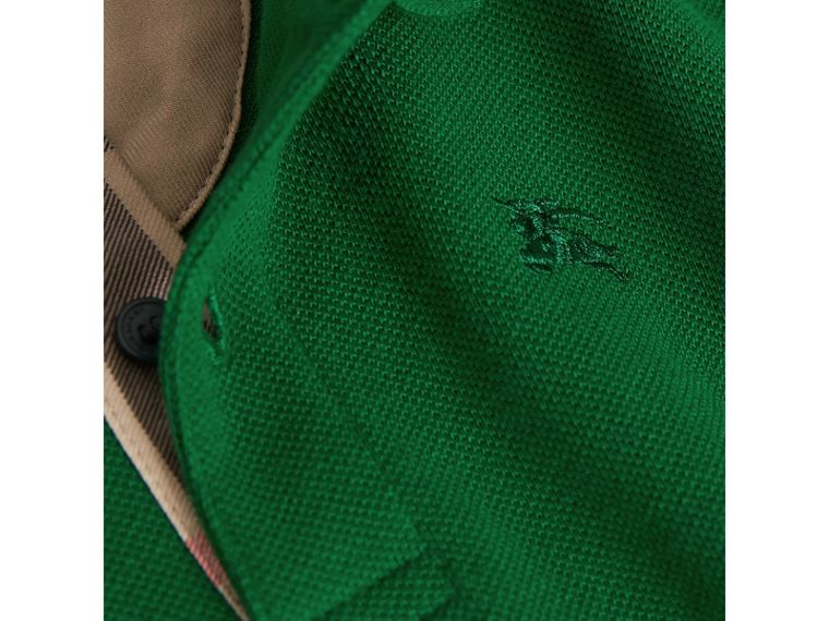 Long-sleeve Cotton Jersey Polo Shirt in Pigment Green - Boy   Burberry United Kingdom - cell image 1