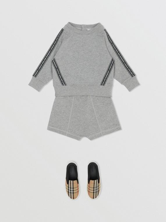 Logo Tape Cotton Sweatshirt in Grey Melange