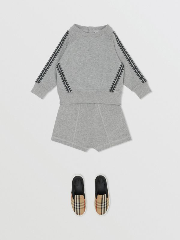 Logo Tape Cotton Sweatshirt in Grey Melange - Children | Burberry - cell image 3