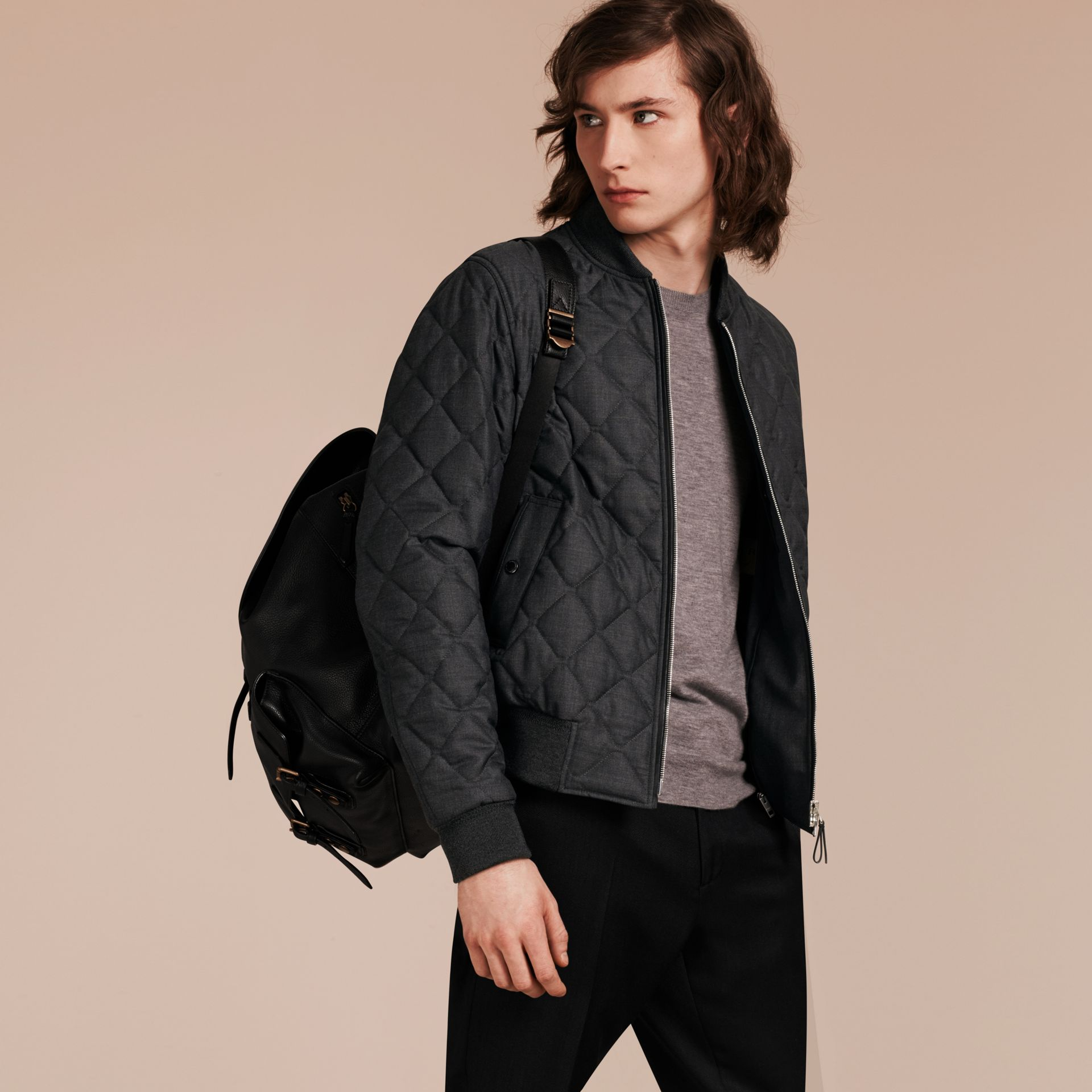 Charcoal Lambskin Trim Quilted Wool Bomber Jacket - gallery image 1