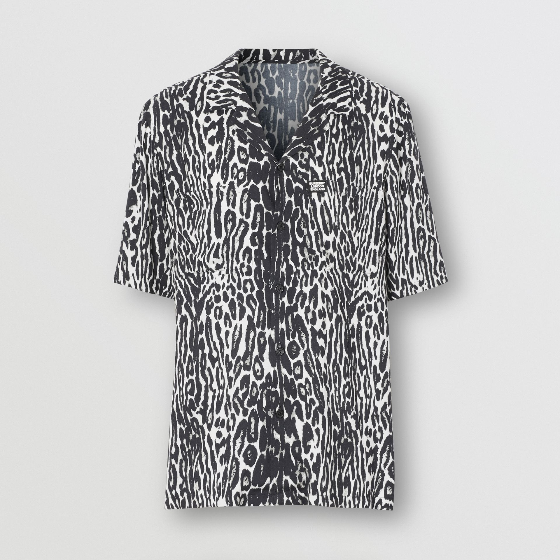 Short-sleeve Leopard Print Twill Shirt in Black - Men | Burberry - gallery image 3