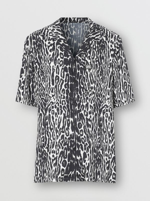 Short-sleeve Leopard Print Twill Shirt in Black - Men | Burberry - cell image 3
