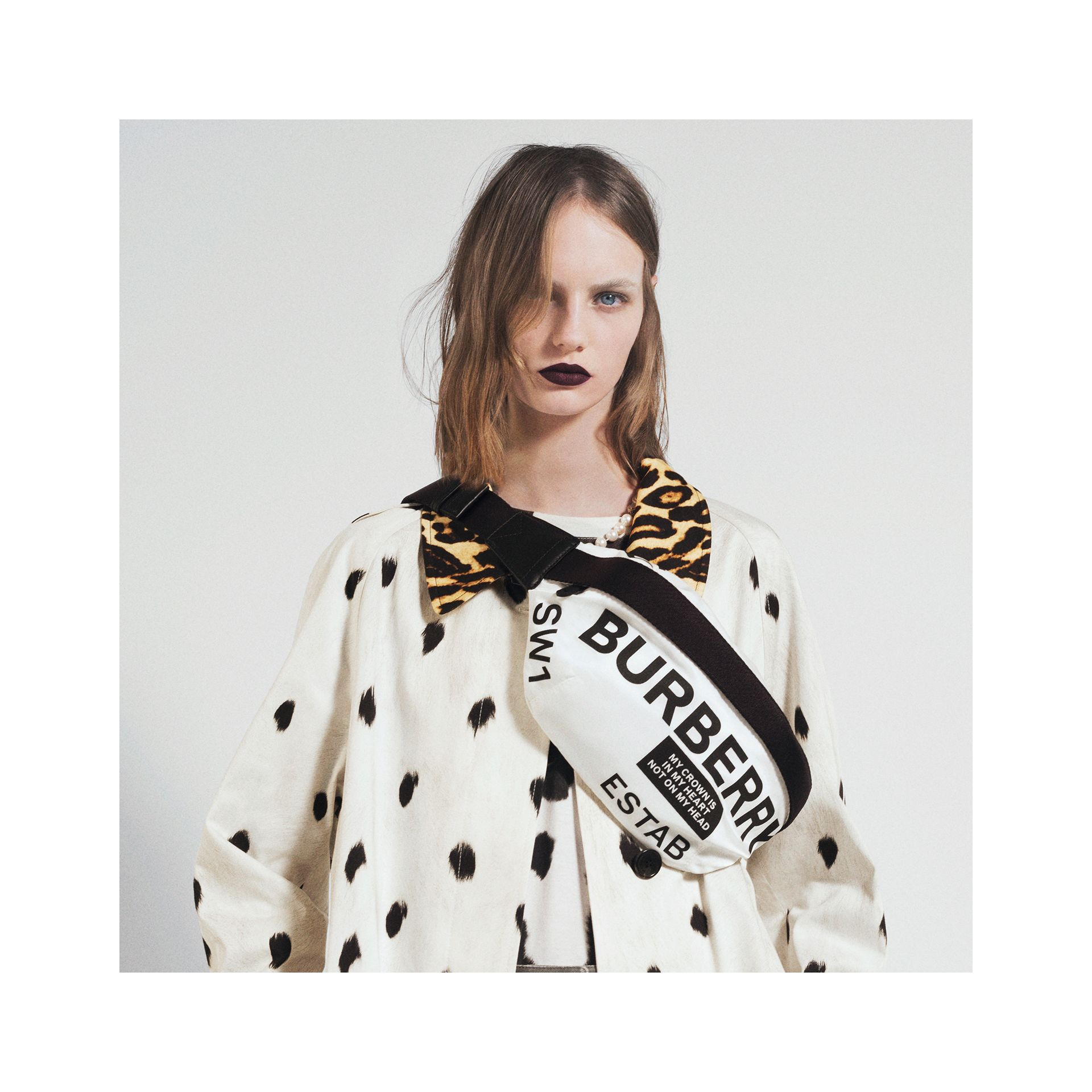 Animal Print Cotton Car Coat in White - Women | Burberry - gallery image 1