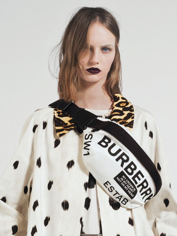 Animal Print Cotton Car Coat in White - Women | Burberry - cell image 1