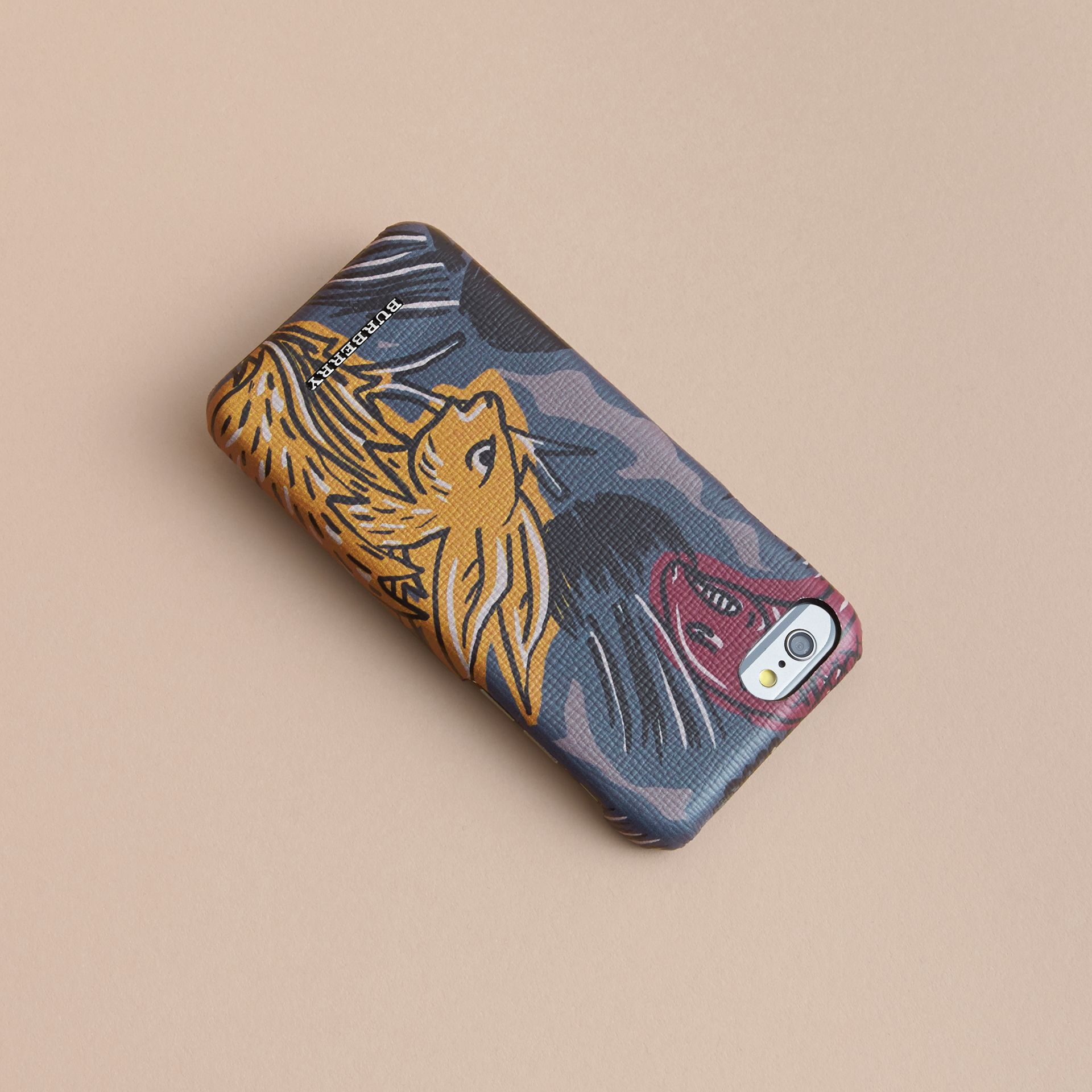 Beasts Print London Leather iPhone 7 Case in Navy Grey - Men | Burberry - gallery image 4