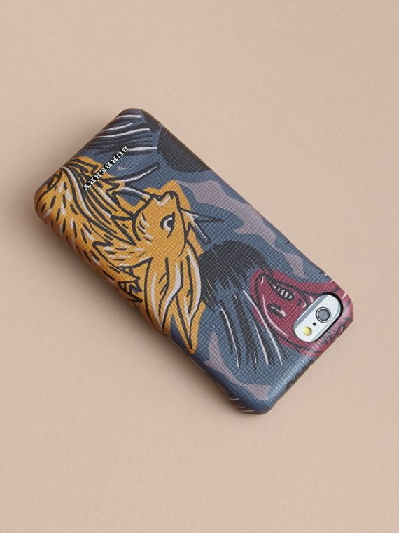 Beasts Print London Leather iPhone 7 Case in Navy Grey - Men | Burberry United Kingdom - cell image 3