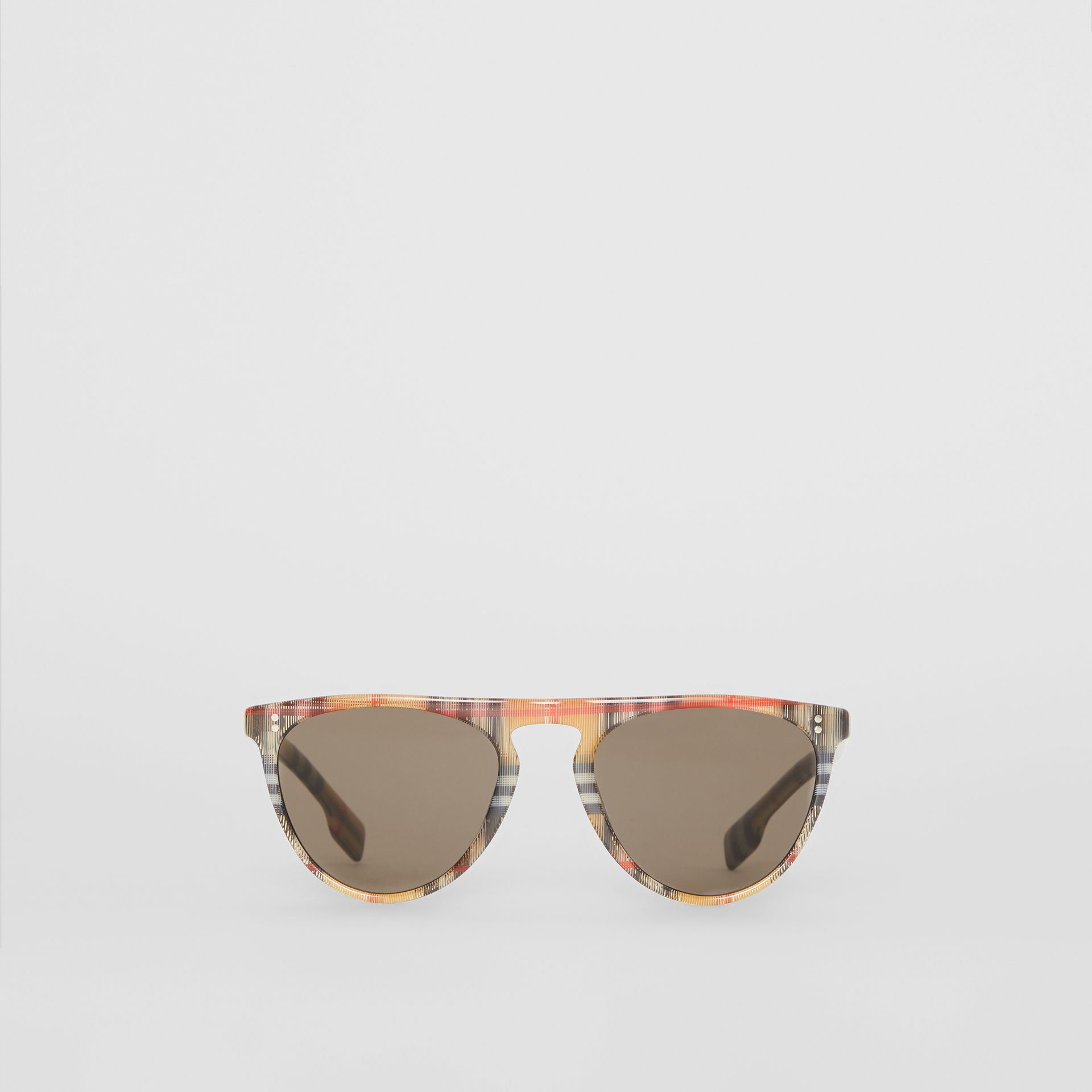 Vintage Check Keyhole D-shaped Sunglasses in Antique Yellow - Men | Burberry - gallery image 0
