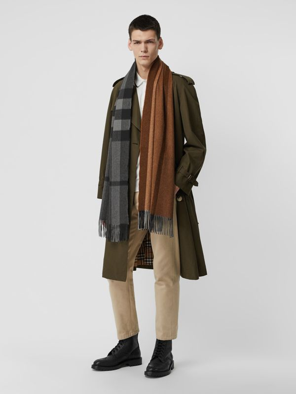 Colour Block Check Cashmere Scarf in Toffee | Burberry - cell image 3