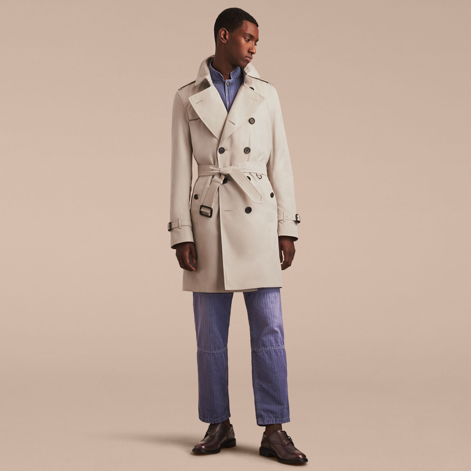 Stone The Kensington – Long Heritage Trench Coat Stone - gallery image 8