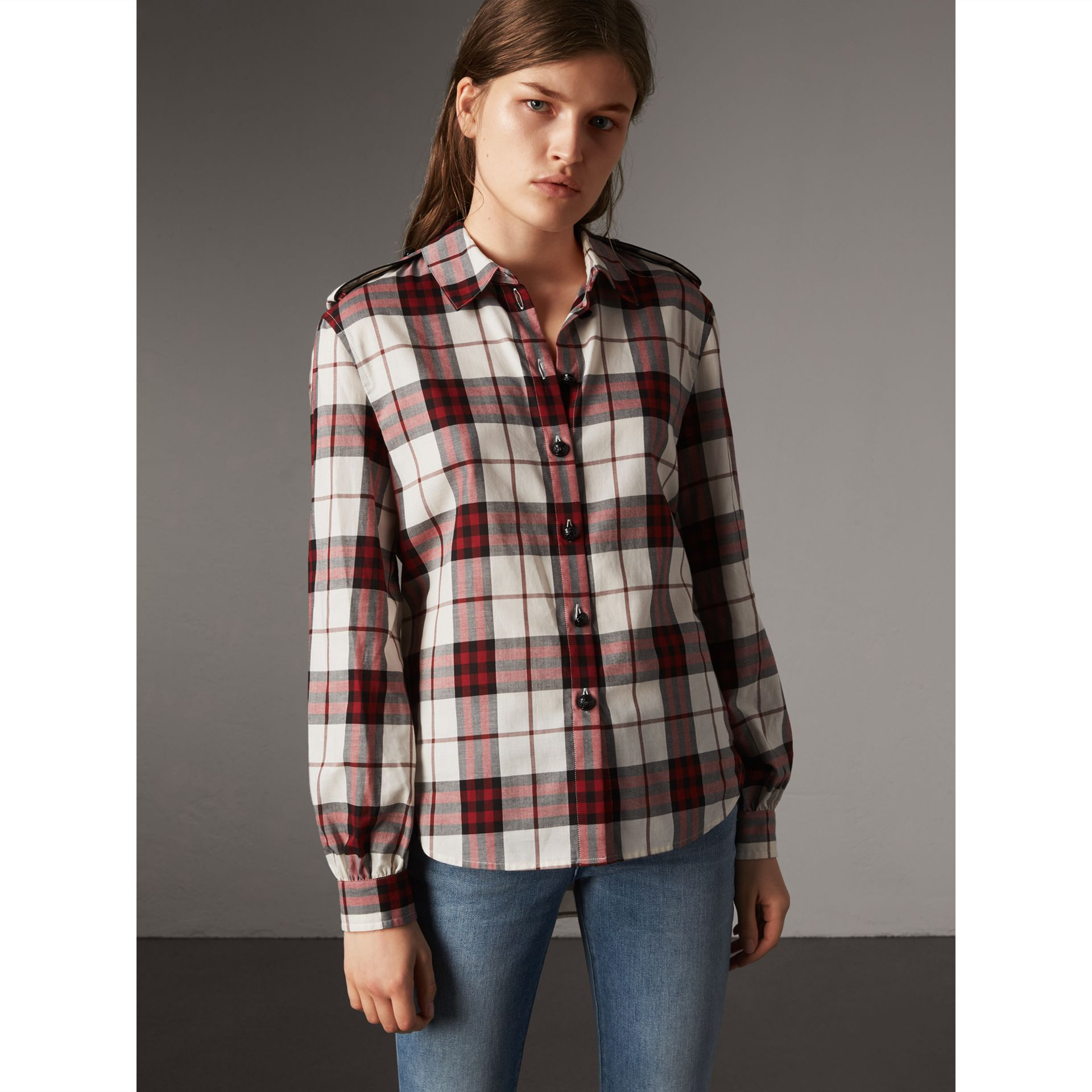 Check Cotton Flannel Military Shirt in Crimson Red - Women | Burberry Canada - gallery image 1