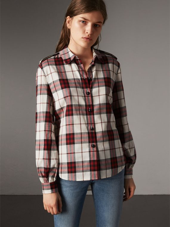 Check Cotton Flannel Military Shirt in Crimson Red