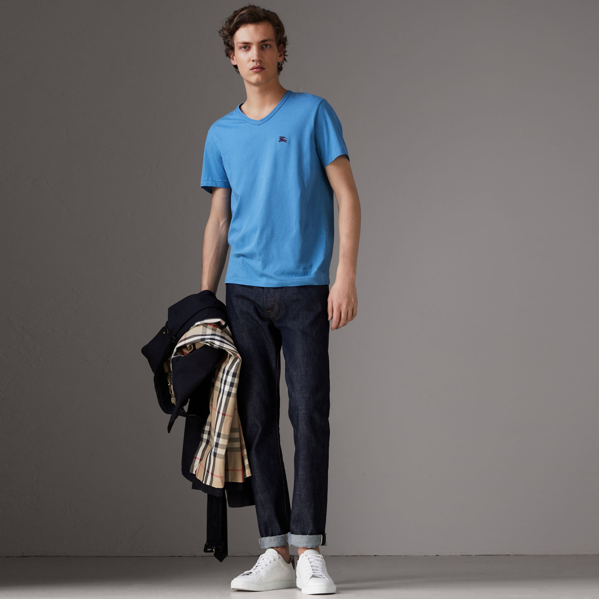 Cotton Jersey T-shirt in Light Azure - Men | Burberry United States - gallery image 0