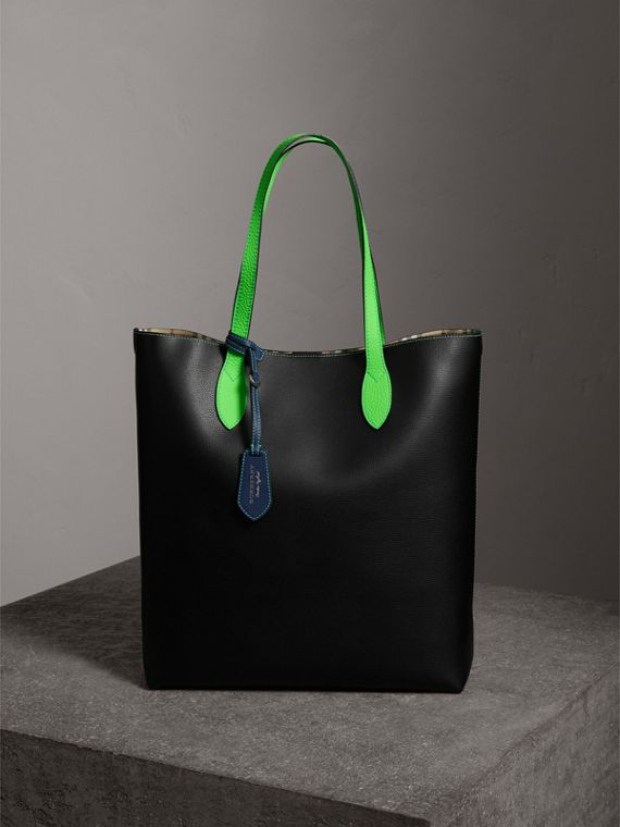 Borsa tote media bicolore in pelle rivestita (Nero)