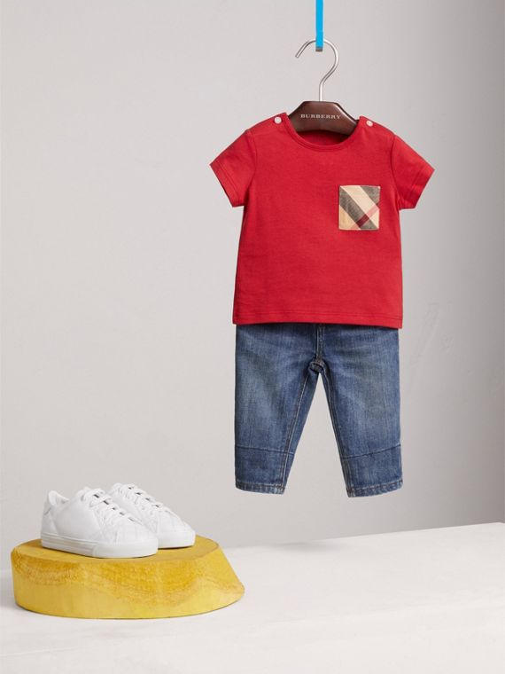 Check Pocket Cotton T-shirt in Military Red | Burberry - cell image 2