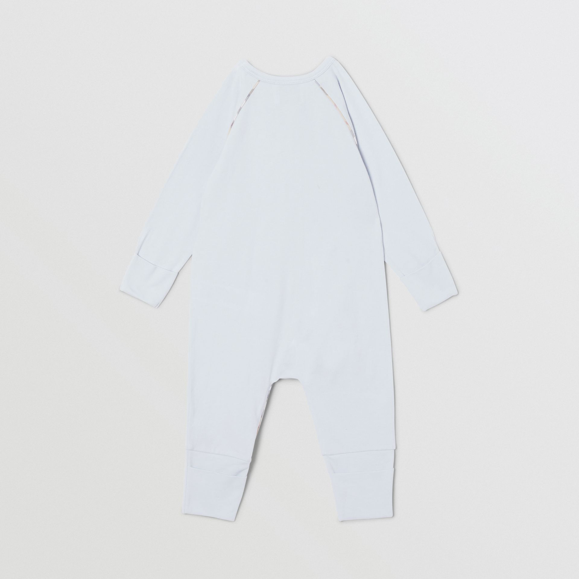Check Trim Stretch Cotton Three-piece Baby Gift Set in Pale Blue - Children | Burberry Singapore - gallery image 6