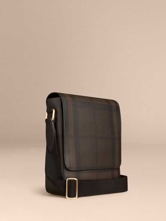 London Check Crossbody Bag in Chocolate/black