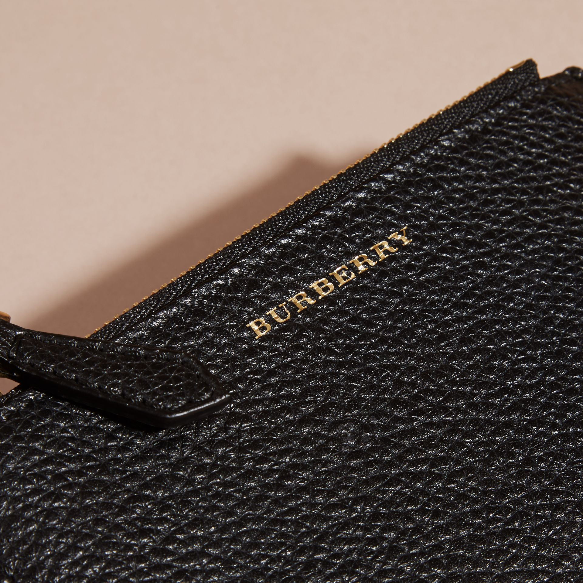 Leather Passport Wallet in Black | Burberry - gallery image 2