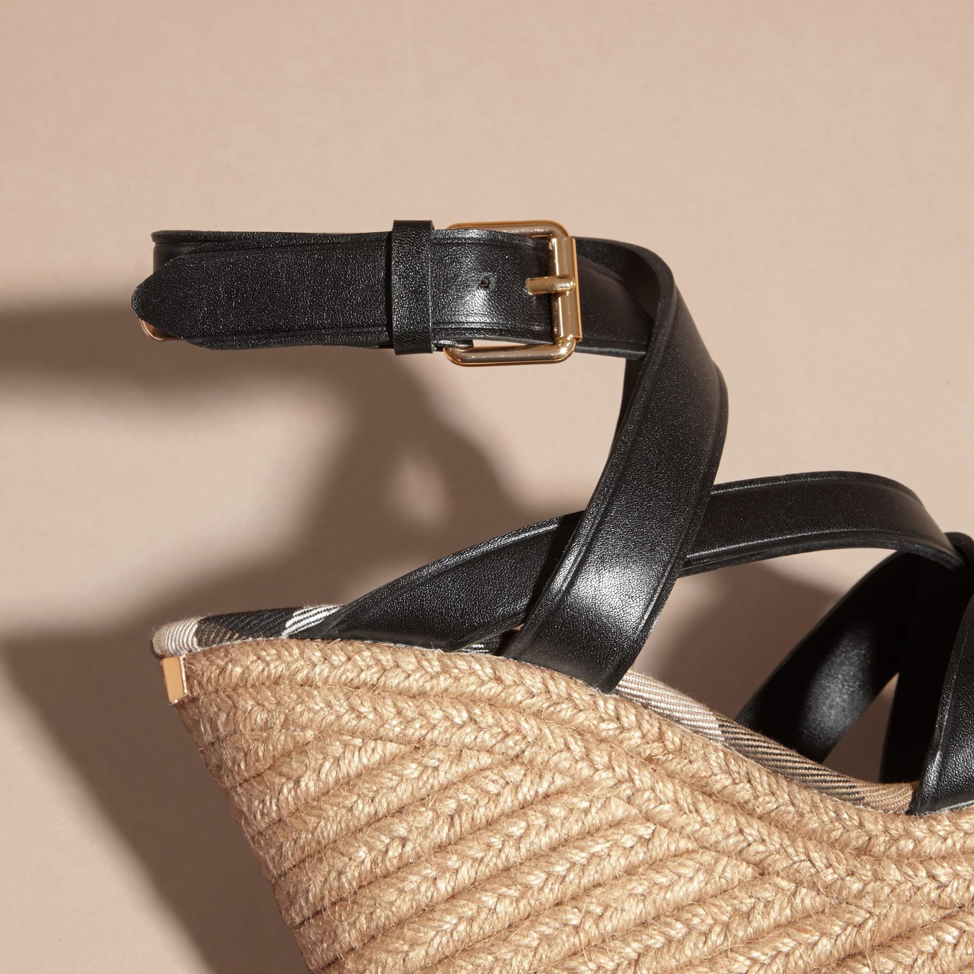 Leather Platform Espadrille Wedge Sandals - gallery image 6