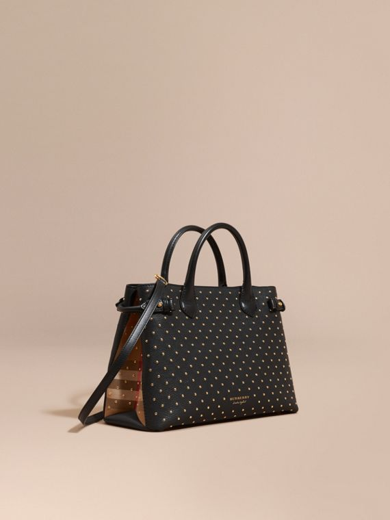 Sac The Banner medium en cuir à rivets et coton House check Noir