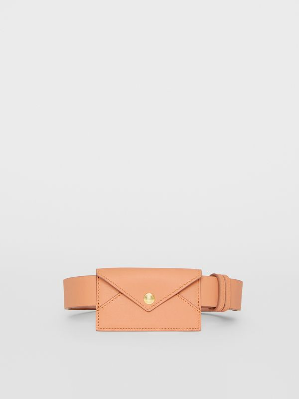 Envelope Detail Leather Belt in Pale Brick - Women | Burberry United States - cell image 3