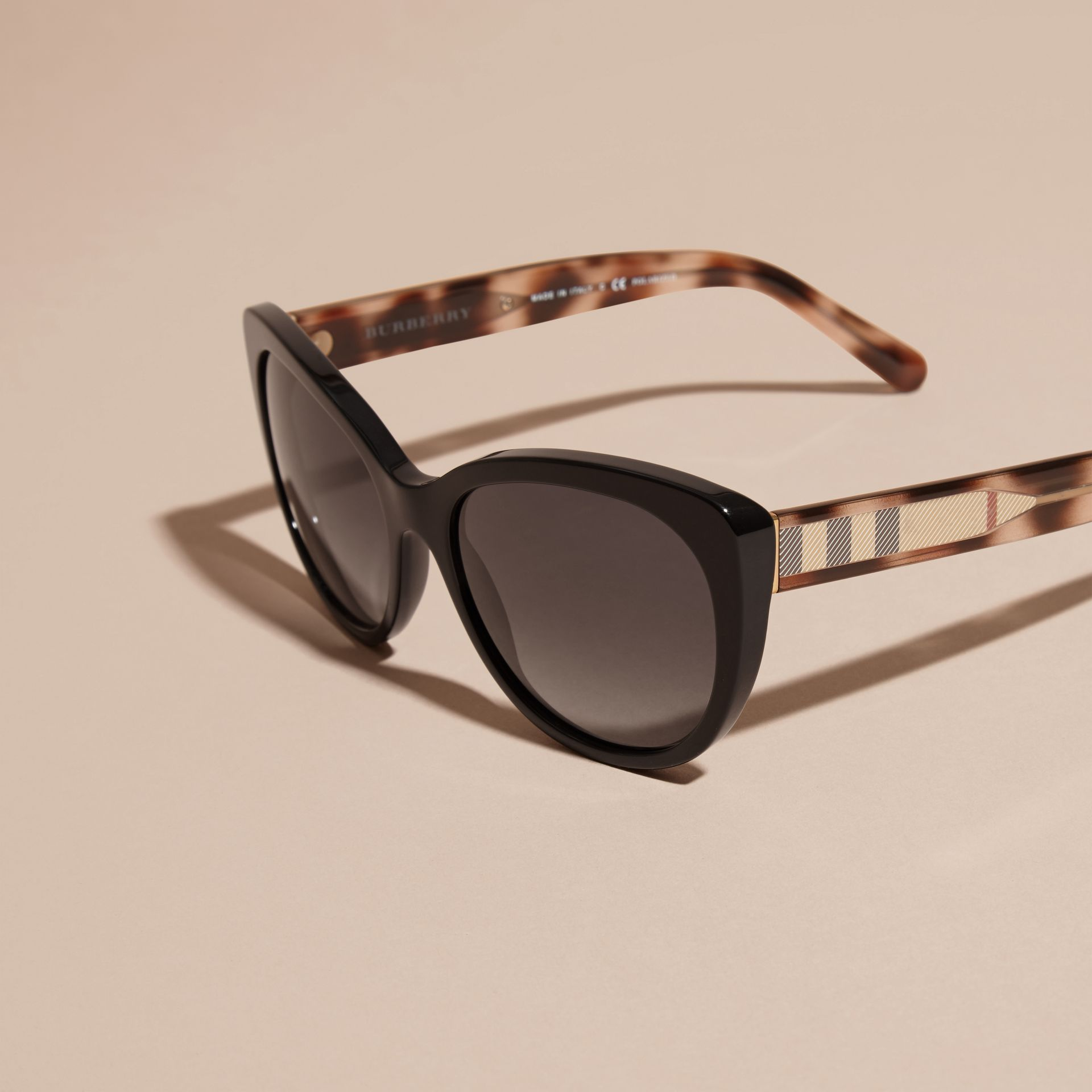 Black Check Detail Cat-eye Polarised Sunglasses - gallery image 3