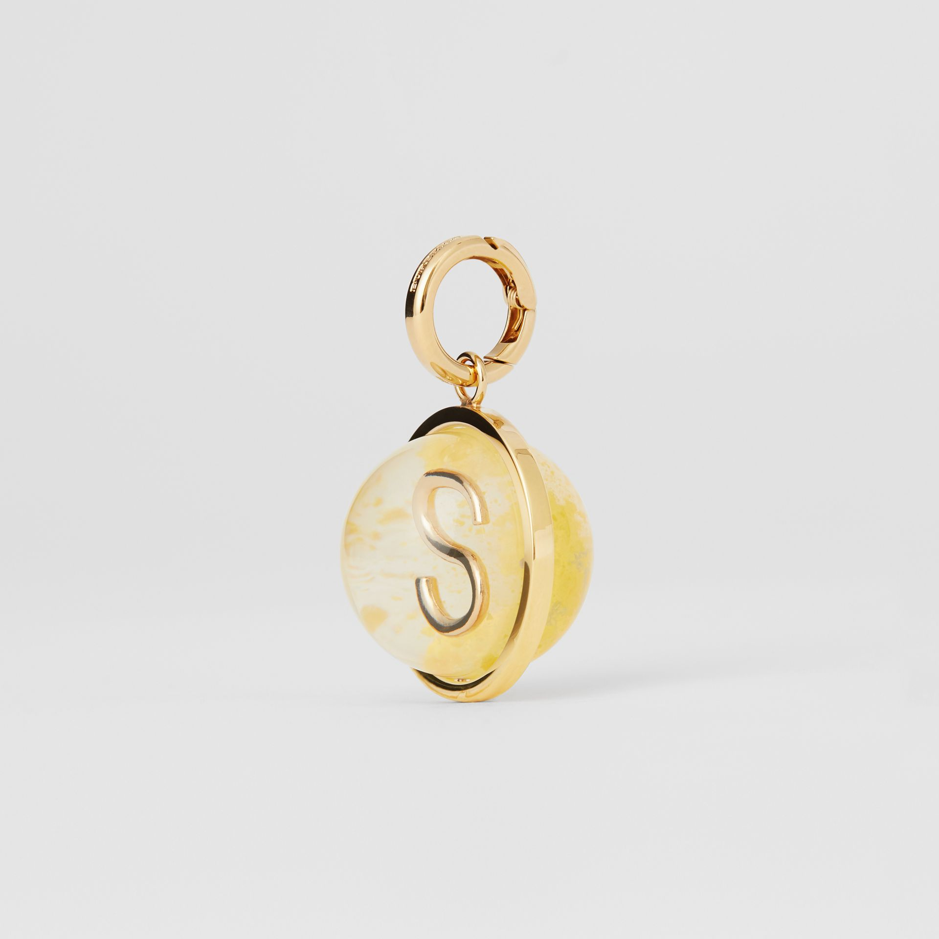 Marbled Resin 'S' Alphabet Charm in Gold/mimosa - Women | Burberry - gallery image 5