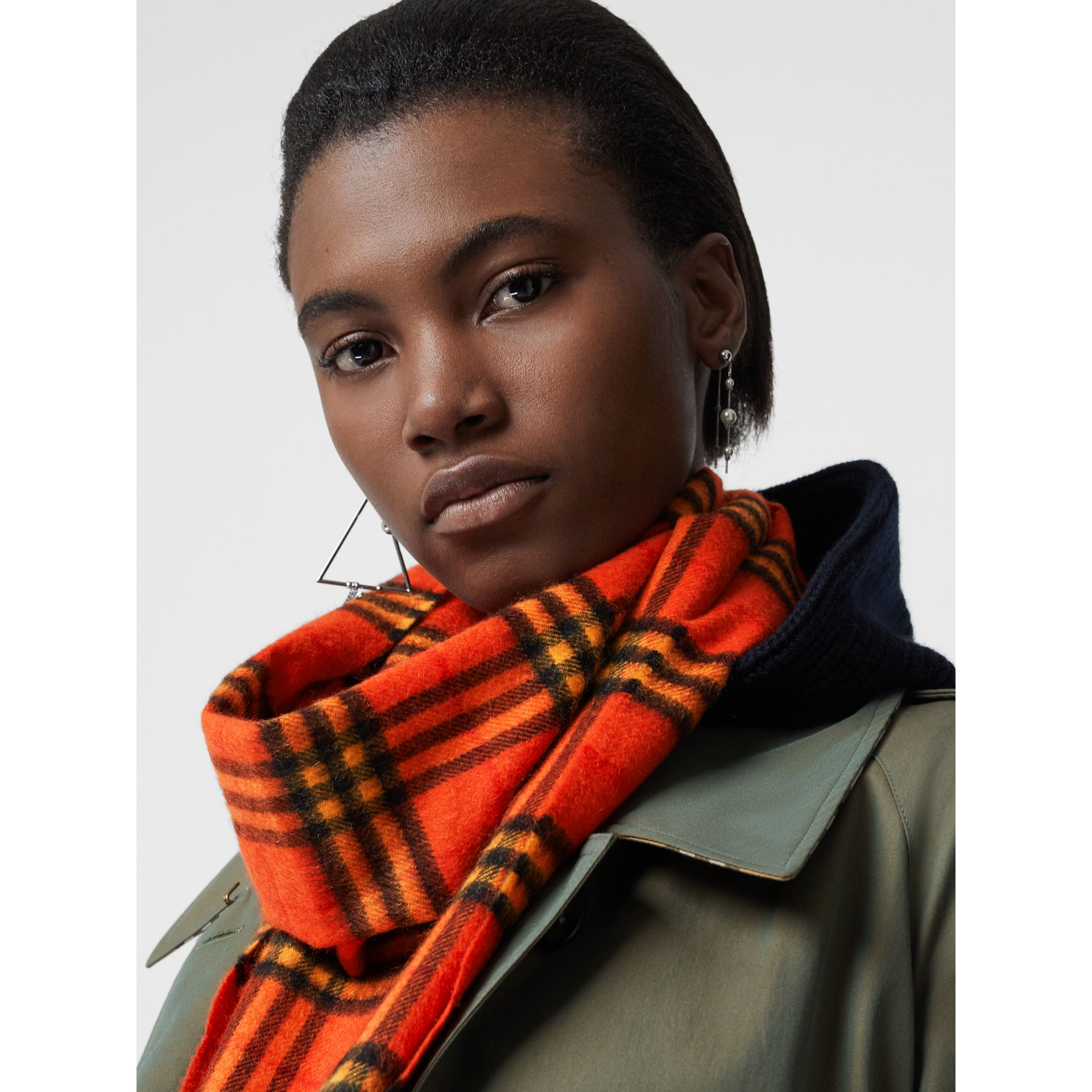 The Classic Vintage Check Cashmere Scarf in Orange | Burberry United Kingdom - gallery image 5