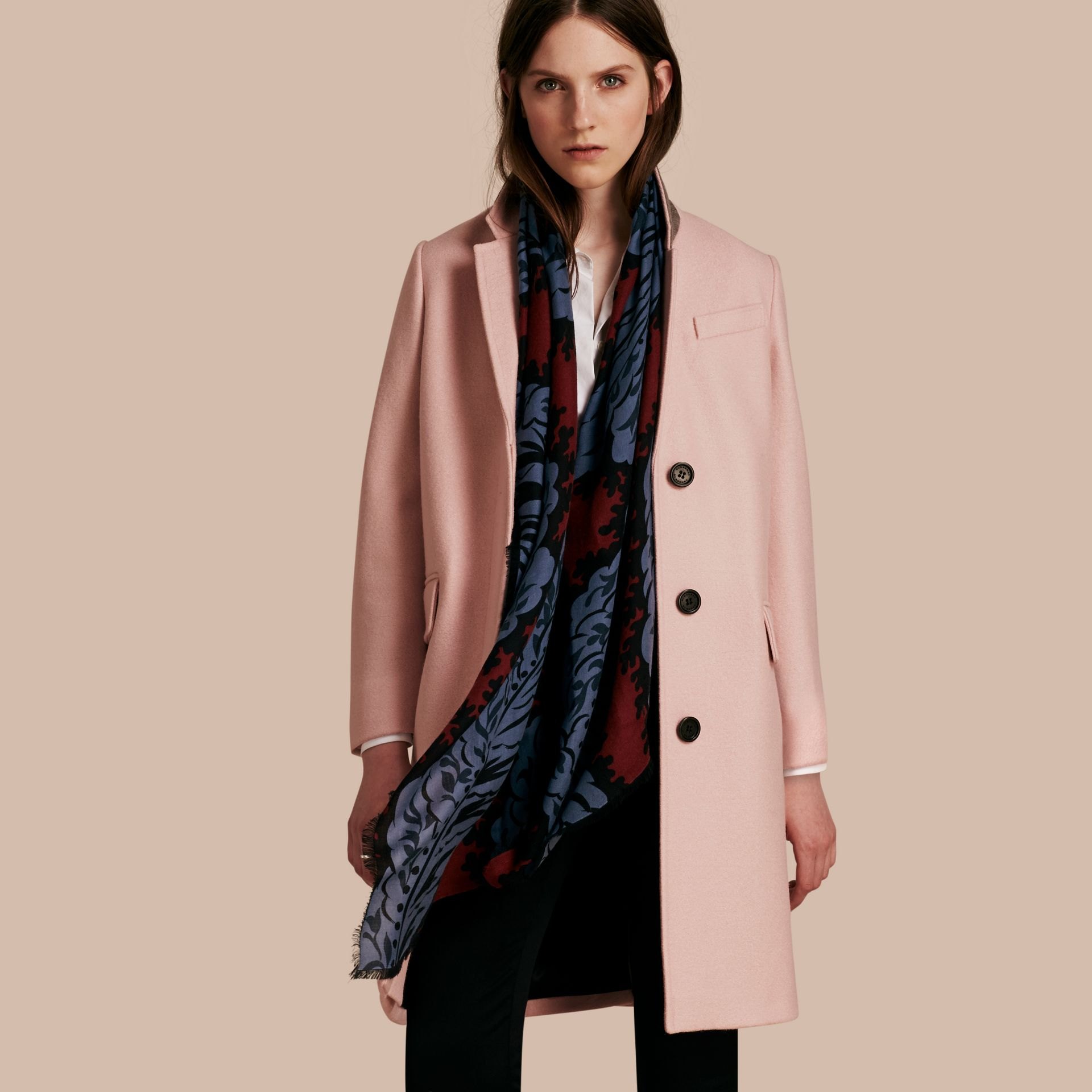 Chalk pink Boiled Wool Tailored Coat - gallery image 1