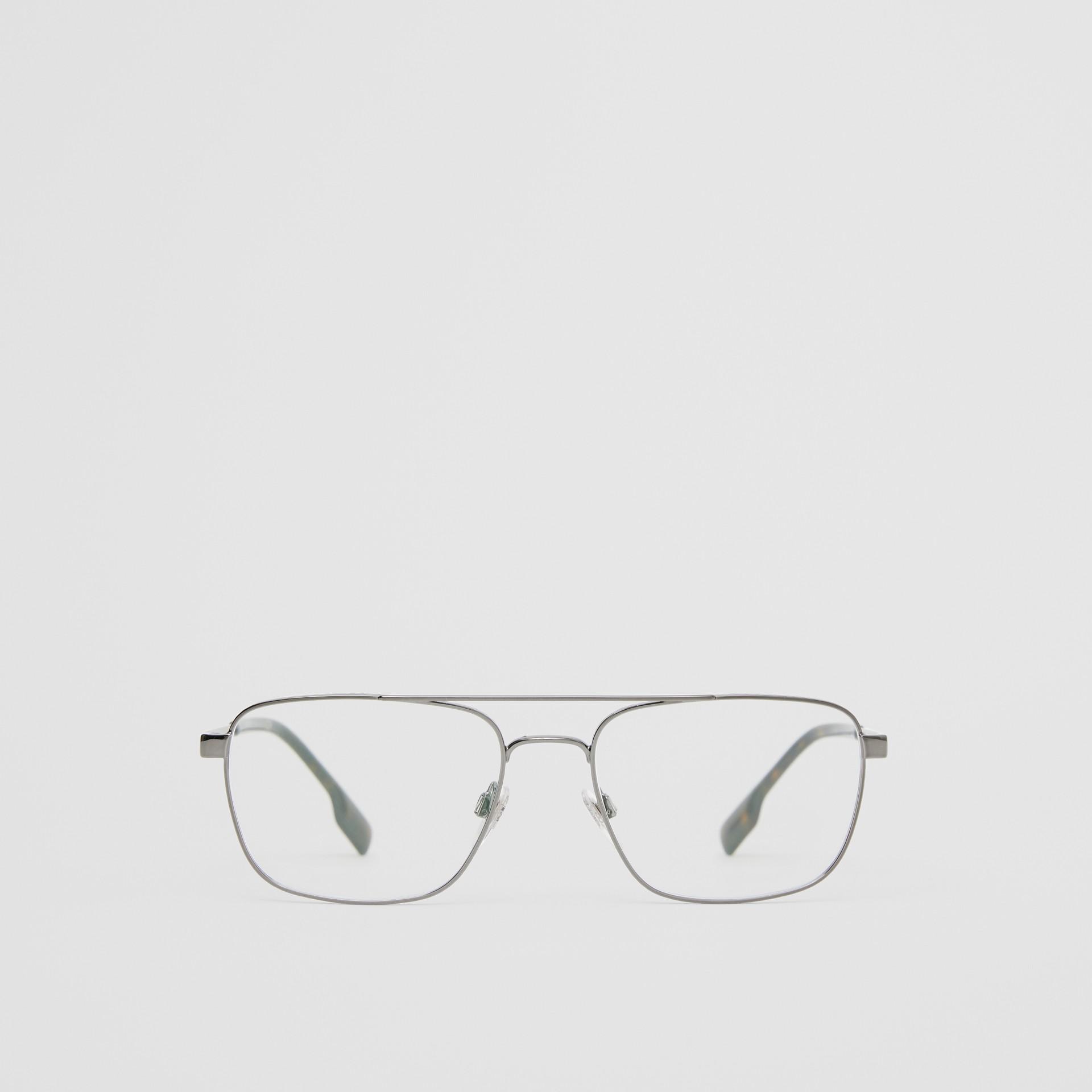 Rectangular Navigator Optical Frames in Dark Grey | Burberry - gallery image 0