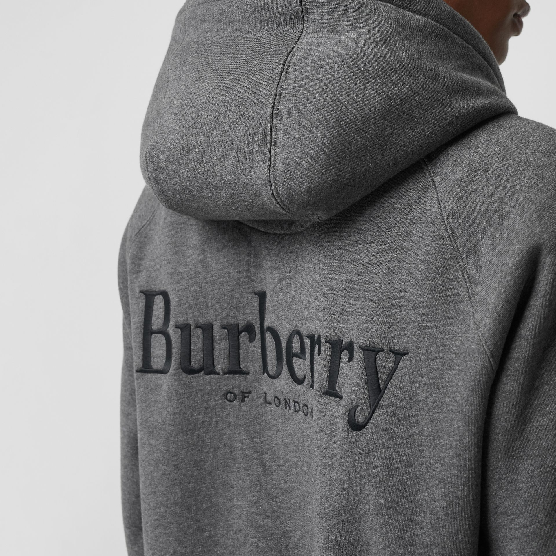 Embroidered Logo Jersey Hooded Top in Mid Grey Melange - Men | Burberry - gallery image 1