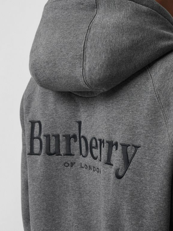 Embroidered Logo Jersey Hooded Top in Mid Grey Melange - Men | Burberry United Kingdom - cell image 1