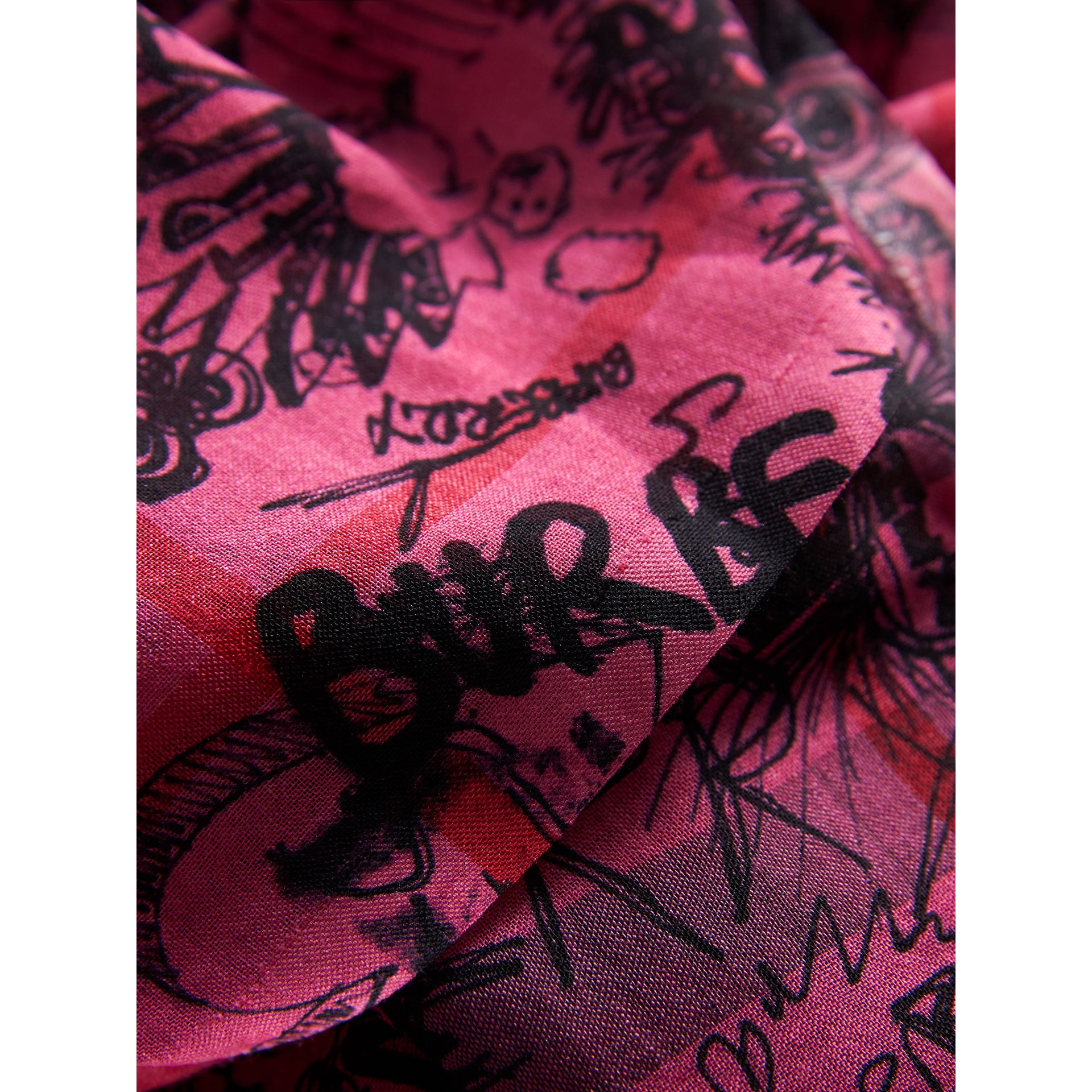 Doodle Print Check Wool Silk Scarf in Neon Pink | Burberry - gallery image 1