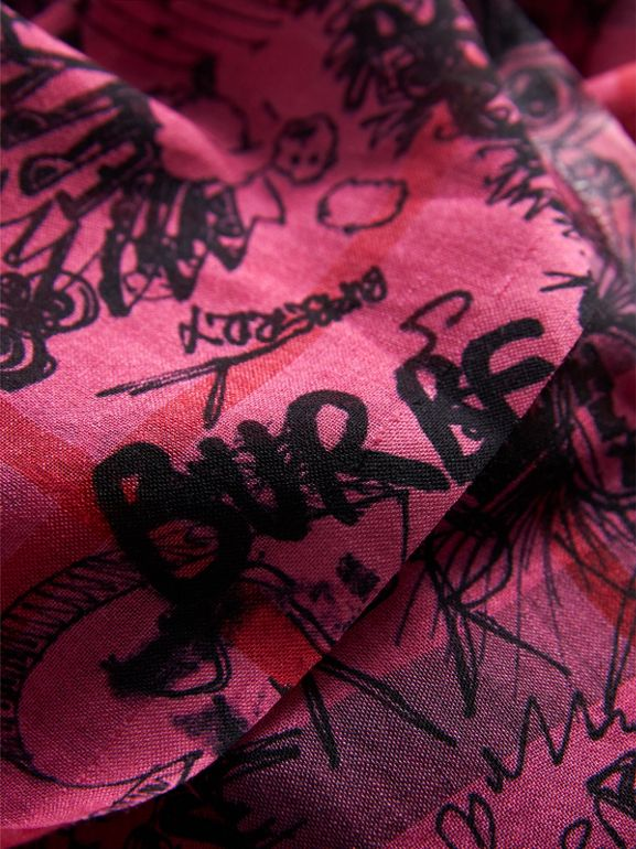 Doodle Print Check Wool Silk Scarf in Neon Pink | Burberry United Kingdom - cell image 1