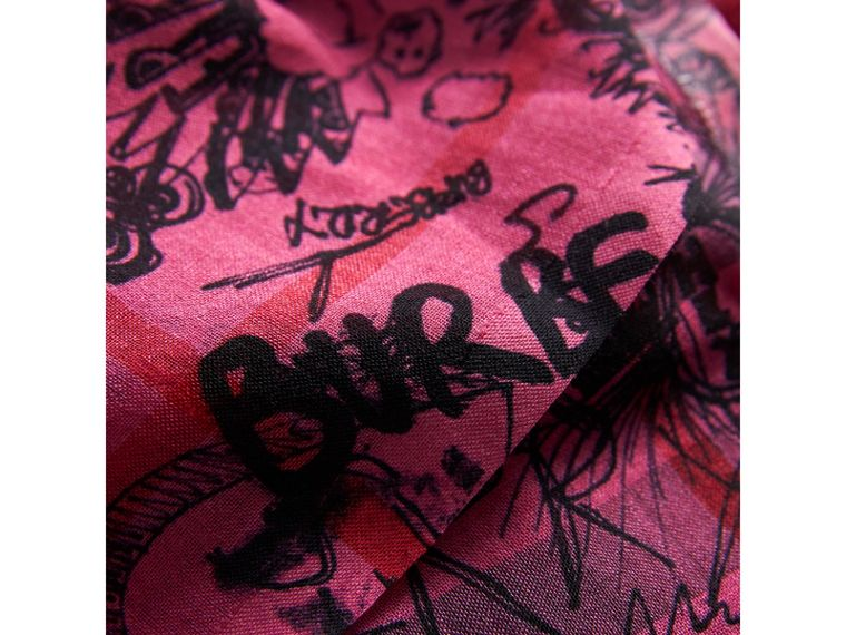 Doodle Print Check Wool Silk Scarf in Neon Pink | Burberry - cell image 1