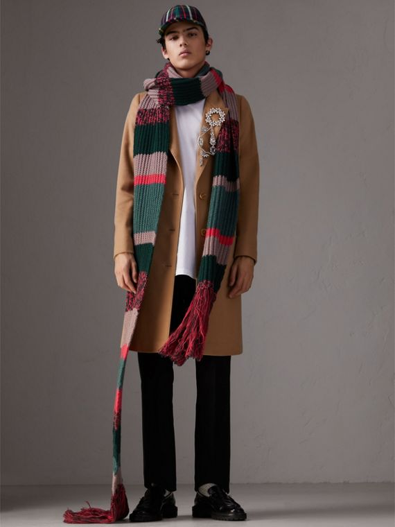 Striped Rib Knit Wool Cashmere Scarf in Bright Peony | Burberry - cell image 3