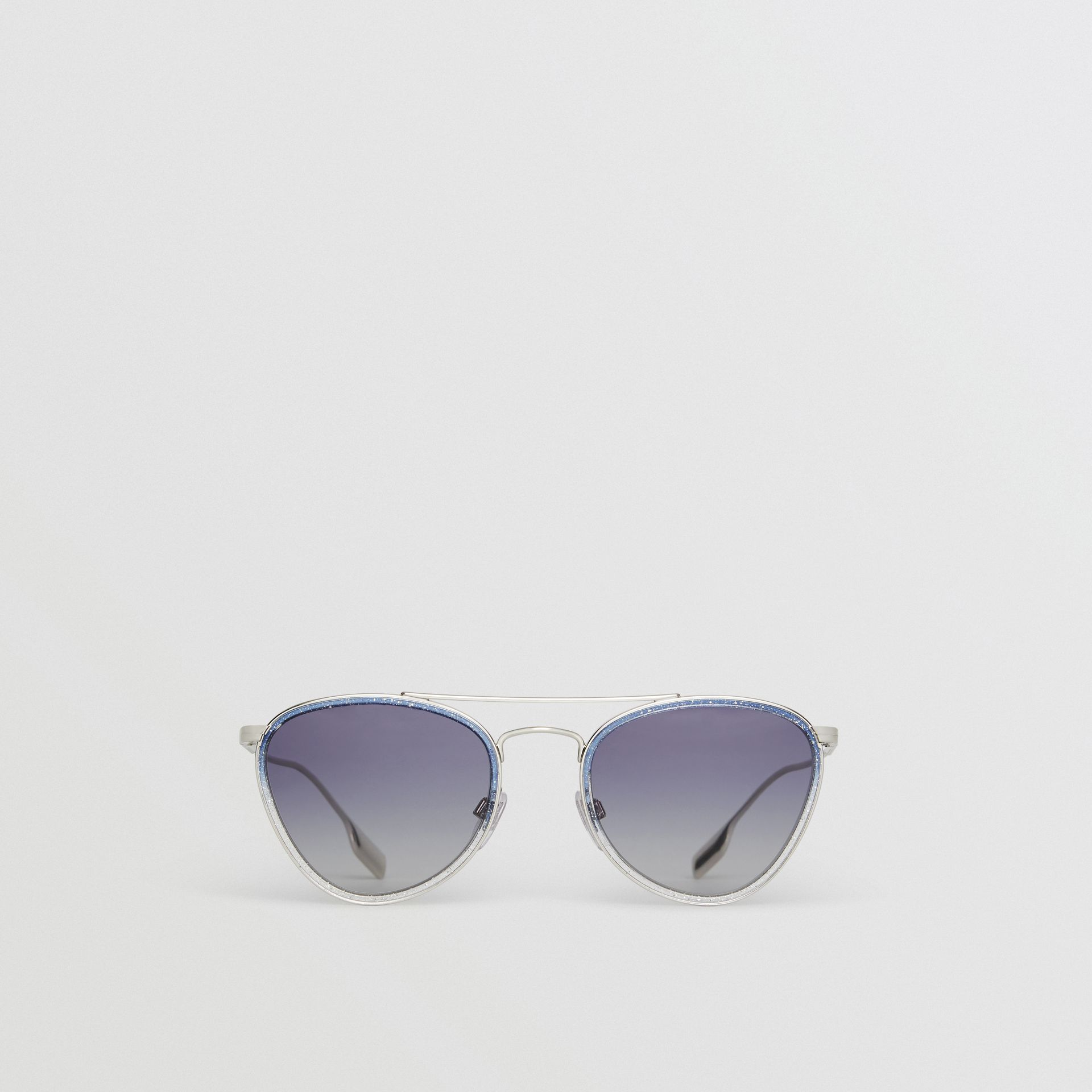 Glitter Detail Pilot Sunglasses in Blue - Women | Burberry United Kingdom - gallery image 0