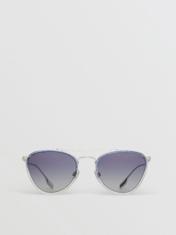 Glitter Detail Pilot Sunglasses in Blue